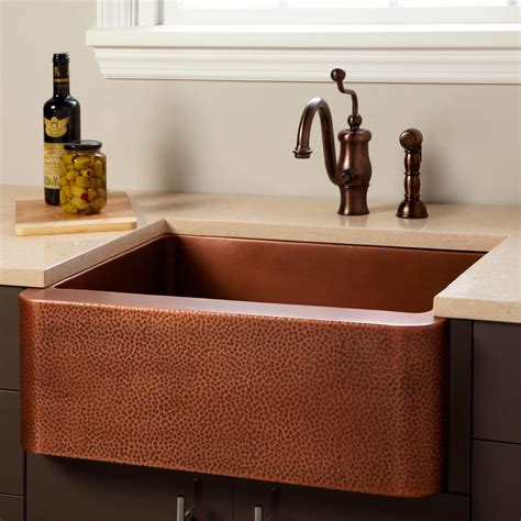 30 quot vernon hammered copper farmhouse sink