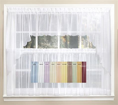 emelia sheer solid kitchen curtain available in 11 colors linens4less