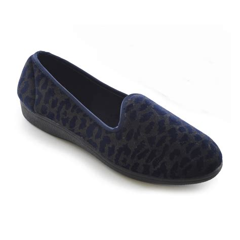 leopard house shoes womens ladies velour leopard animal print slip on slippers nightwear ebay