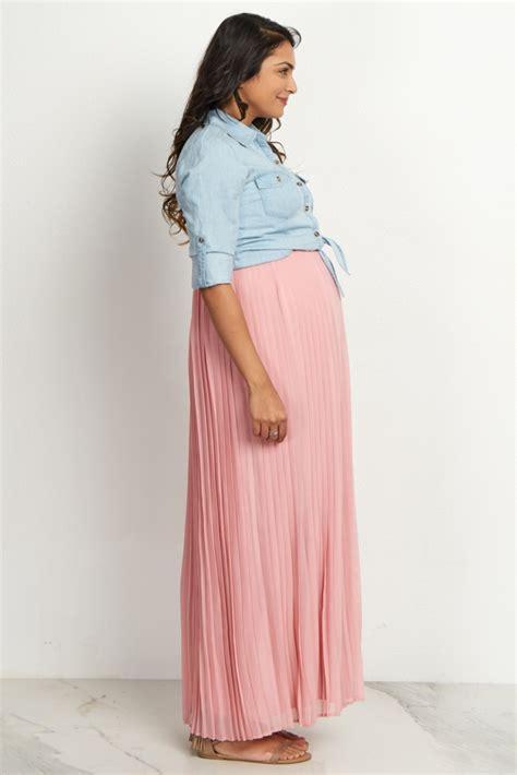 mauve pleated maxi skirt