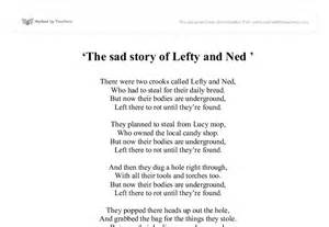 Sad Story Essay by Poem The Sad Story Of Lefty And Ned Gcse Marked By Teachers