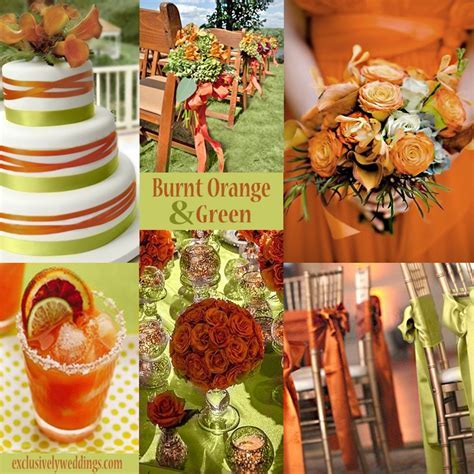 Burnt Orange and Green Wedding Colors     #