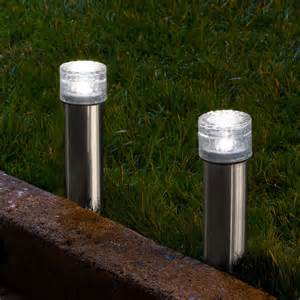 Landscape Lighting Set Lights Outdoor Solar Landscape Cool White Stainless Steel Iced Solar Bollard Light