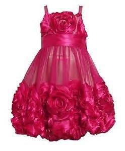 Bonnie jean pageant party dress flower mesh bubble hem girls 7 8 10 12