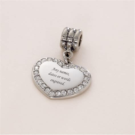charm with crystals fits pandora any engraving
