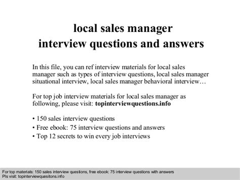 local sales manager questions and answers