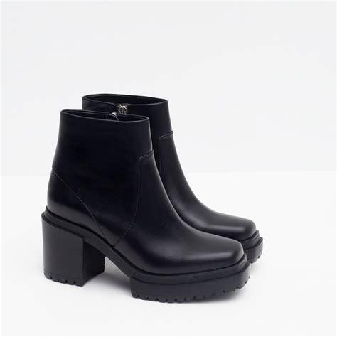 zara platform track ankle boots in black lyst