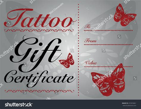 butterfly skull tattoo gift card gift stock vector  shutterstock