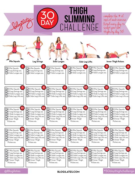 pilates 30 day challenge 30 day thigh slimming challenge blogilates fitness