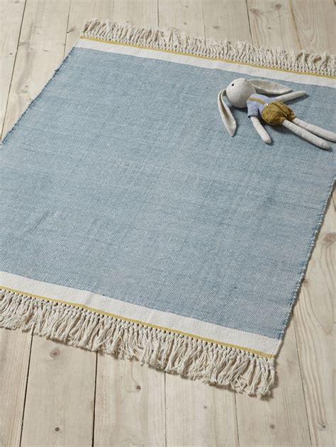 teppiche mit fransen cyrillus teppich mit fransen baumwolle in blau