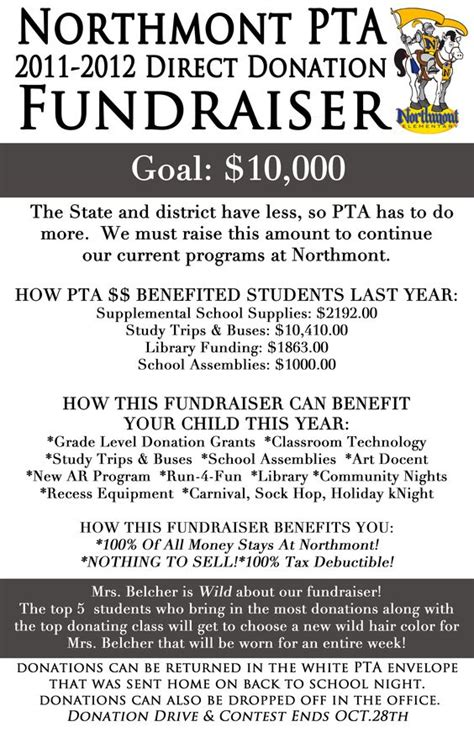 Hilarious Fundraising Letter Northmont Elementary Pta Direct Donation Fundraiser Pto We Middle School And