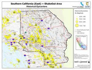 socal california map the great california shakeout inland southern california