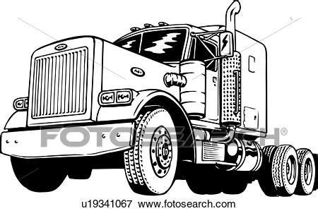illustration lineart classic peterbilt truck clip art