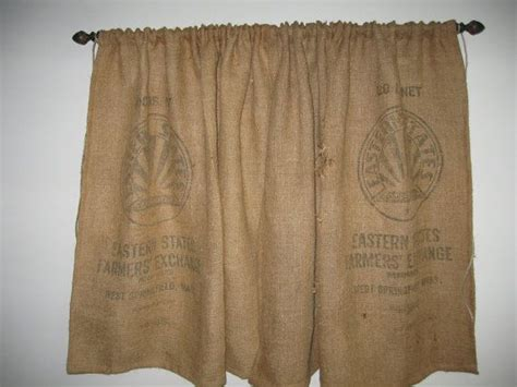 grain sack curtains one pair of burlap feed grain sack curtain cafe teirs