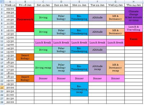 create timetable studying geekyzoogirl