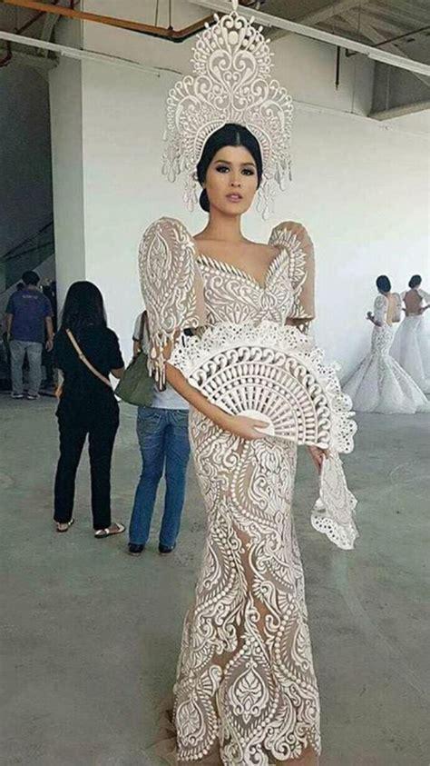 filipiniana gown dress butterfly sleeves fan crown horn