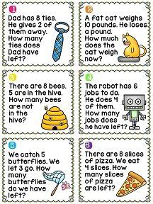 pattern problem solving year 1 first grade math unit 5 subtraction word problems cards