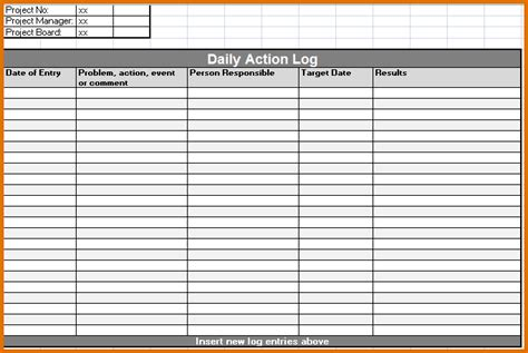 daily activity log template 8 daily work log templatereference letters words