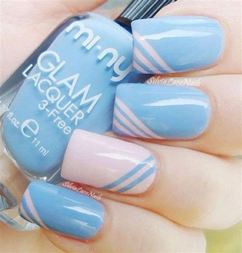 easy nail art pink and blue 65 most stylish light blue nail art designs