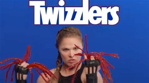 ronda rousey hairstyles ronda rousey s funny new twizzlers commercial video the