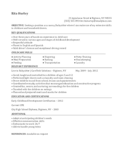 Nanny Resume Sles Download Free Templates In Pdf And Word Upload Resume Into Template