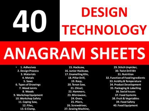 design technology cover worksheets 40 anagram sheets design technology ks3 gcse keyword