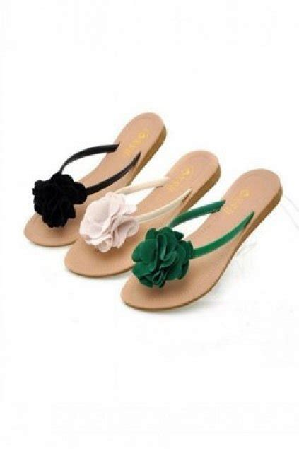 Flower Flip Flops shoes sandals suede flowers flats flip flops