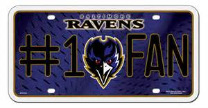 baltimore ravens 1 fan license plate