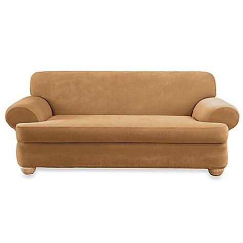 Stretch Pique Camel 2 Piece T Cushion Sofa Slipcover By T Cushion Sofa Slipcovers 2