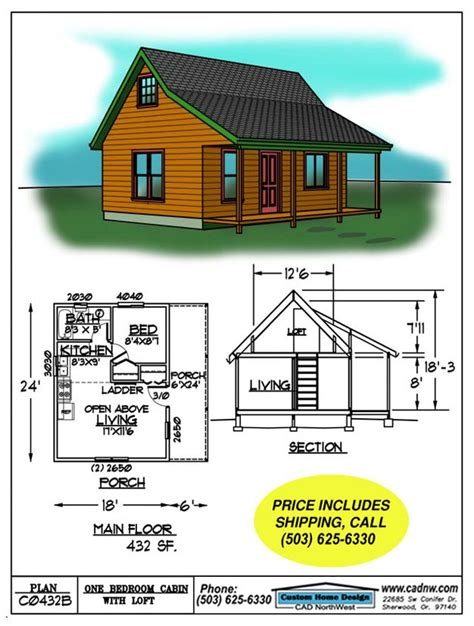 building plans for cabins small cabin floor plans c0432b cabin plan details picmia