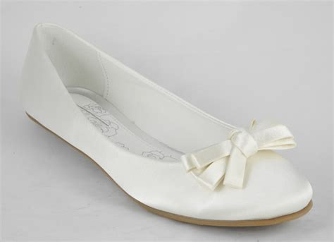 Satin Pumps Wedding by Womens Ivory Satin Pumps Wedding Flat Ballerina