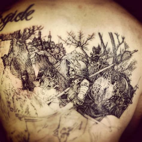 tattoo with pen ink safe back piece work in progress pen and ink style hatching