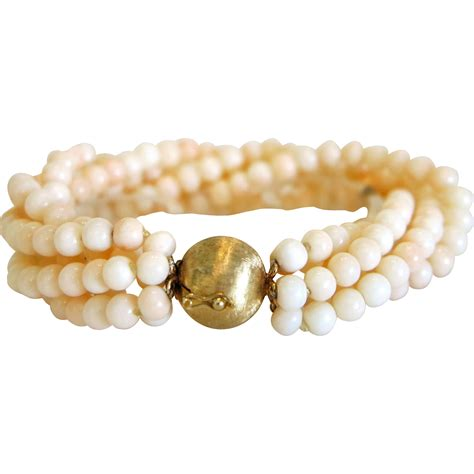 vintage coral bead bracelet 14k yellow gold closure ca
