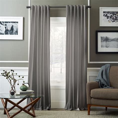 Grey Curtains For Living Room Velvet Pole Pocket Curtain Dove Gray West Elm