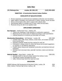 Sample Resume Objectives For Labor Jobs by General Laborer Resume Www Galleryhip Com The Hippest Pics