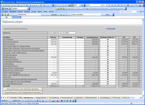 Nebenkostenabrechnung Vorlage Nebenkostenabrechnung Mit Excel Vorlage Zum