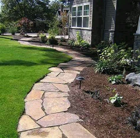 Landscape Edging Path Flagstone Pathway For Flowerbed Edging Garden