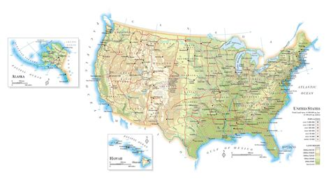 map of united states of america with major cities large elevation map of the united states with roads