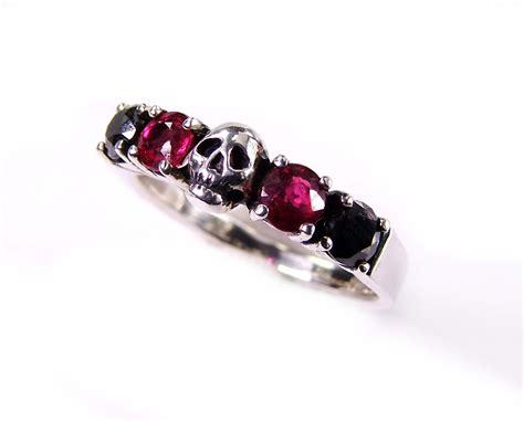 skull wedding ring wedding black and ruby