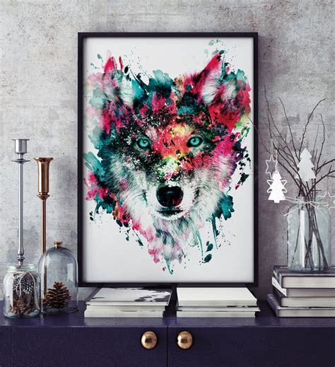 wolf home decor wolf wildlife wild animals wall art home decor by rizapekerart