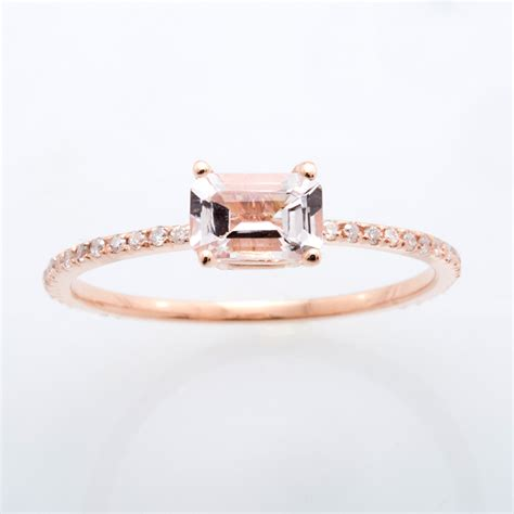 emerald cut light pink morganite ring with band