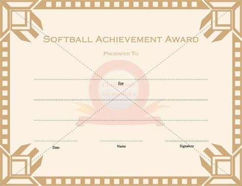 free softball certificate templates softball achievement award sports certificate templates