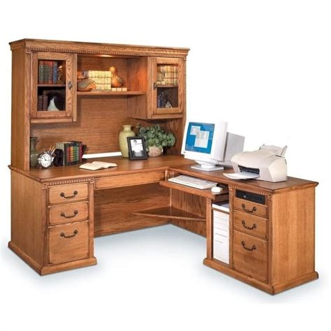 L Shaped Executive Desk With Hutch Kathy Ireland Home By Martin Huntington Oxford L Shaped Lhf Executive Desk With Hutch In Wheat