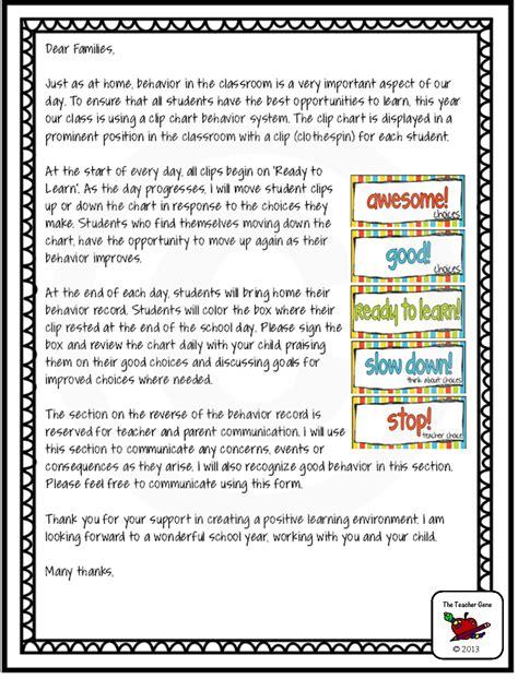 Parent Letter Explaining Class classroom behavior clip charts class and chart