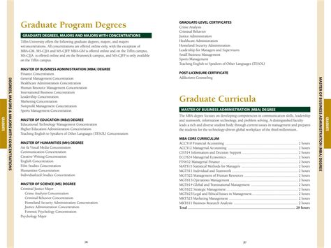 Mba Concentration Forensic by 2016 2017 Graduate Course Descriptions By Tiffin