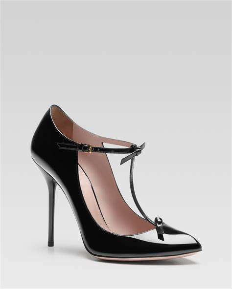 Gucci Heels 1 gucci beverly patent leather t pumps in black lyst