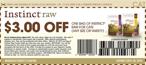 printable rabbit food coupons printable instinct raw cat food coupons cat food coupons