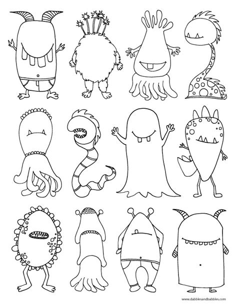 coloring page of monster monsters coloring page dabbles babbles