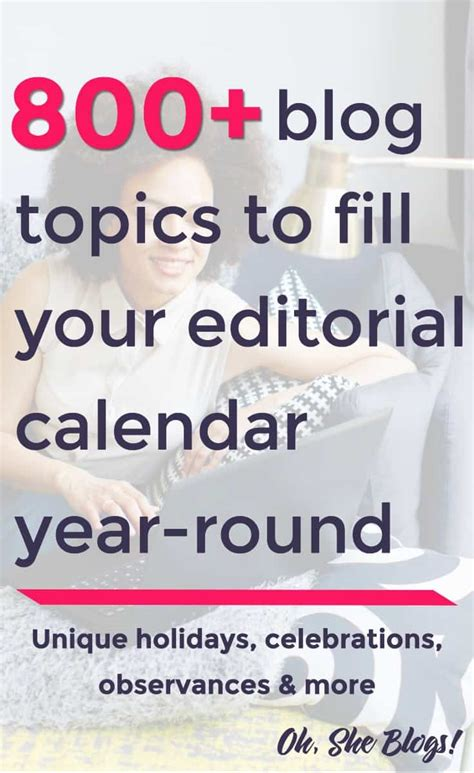 unique holidays 800 blog topics to fill your editorial calendar oh she