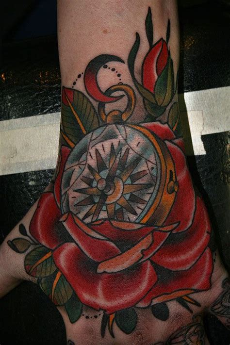 gonna love this one colorful compass rose tattoo for hand